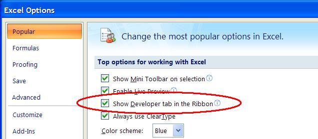 Excel VBA Display the Developer Toolbar or Ribbon LazerWire - excel developer