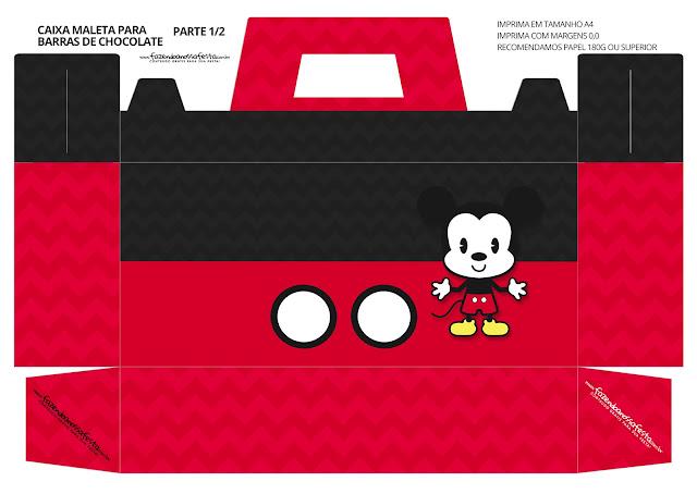 Mickey Chibi: Caja con Forma de Maleta para Imprimir Gratis.