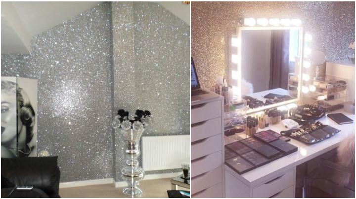 Papel de parede com glitter glamouroso e sofisticado laamour blog v deos tutoriais - Papel para revestir paredes ...
