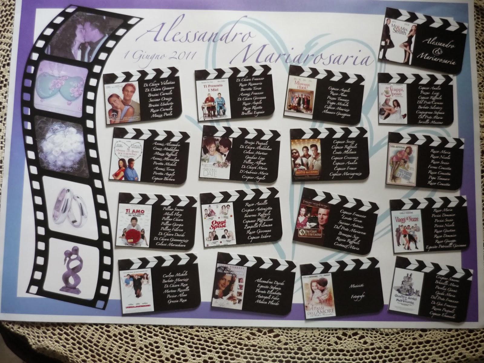 "Molto Valentina Di Chiara: Tableau mariage tema ""Film d'Amore"" NR89"