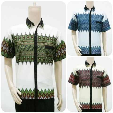 Baju Batik Pria Motif Tenun Kombinasi Batik Bagoes Solo
