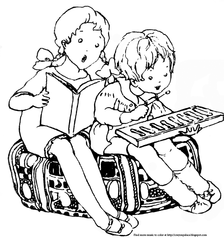 color these children playing and singing with a xylophone