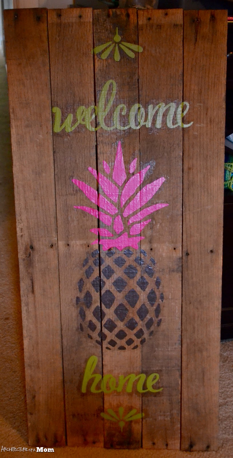 Architecture Of A Mom Pineapple Wooden Welcome Art