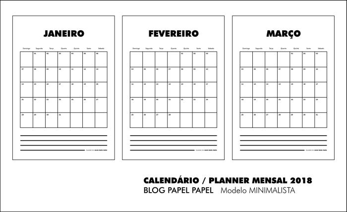 Calendário 2018 Free Download Blog Papel Papel