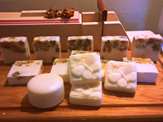 Some of these soaps contain soap scraps for a pretty effect.
