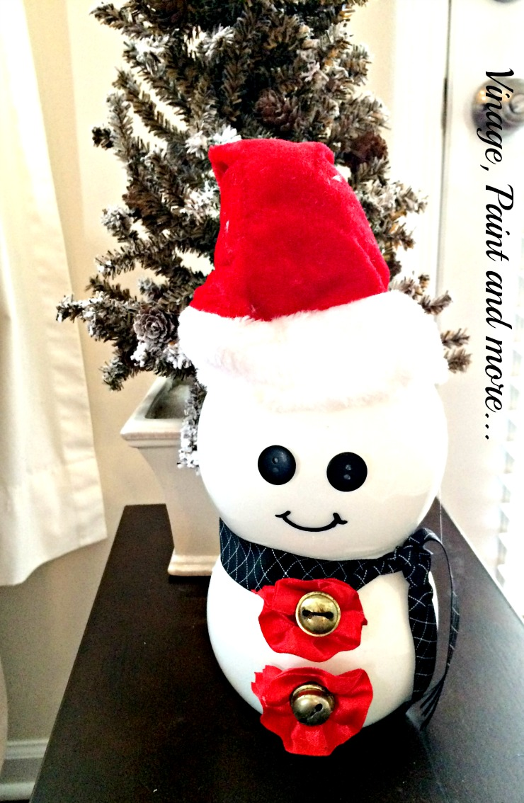 Vintage, Paint and more... snowman decor made from painted votives