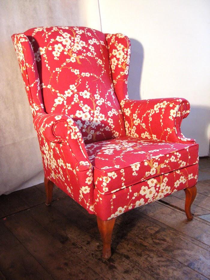 Mick Sheridan Upholstery Wingback Armchair In Laura Ashley Fabric