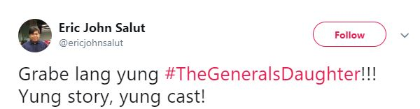 Eric John Salut Priased The Storyline And The Cast Of 'The General's Daughter'