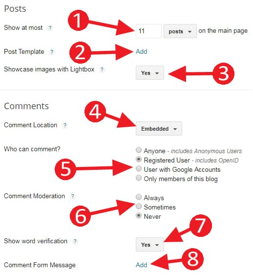 How to manage Posts and Comments Settings