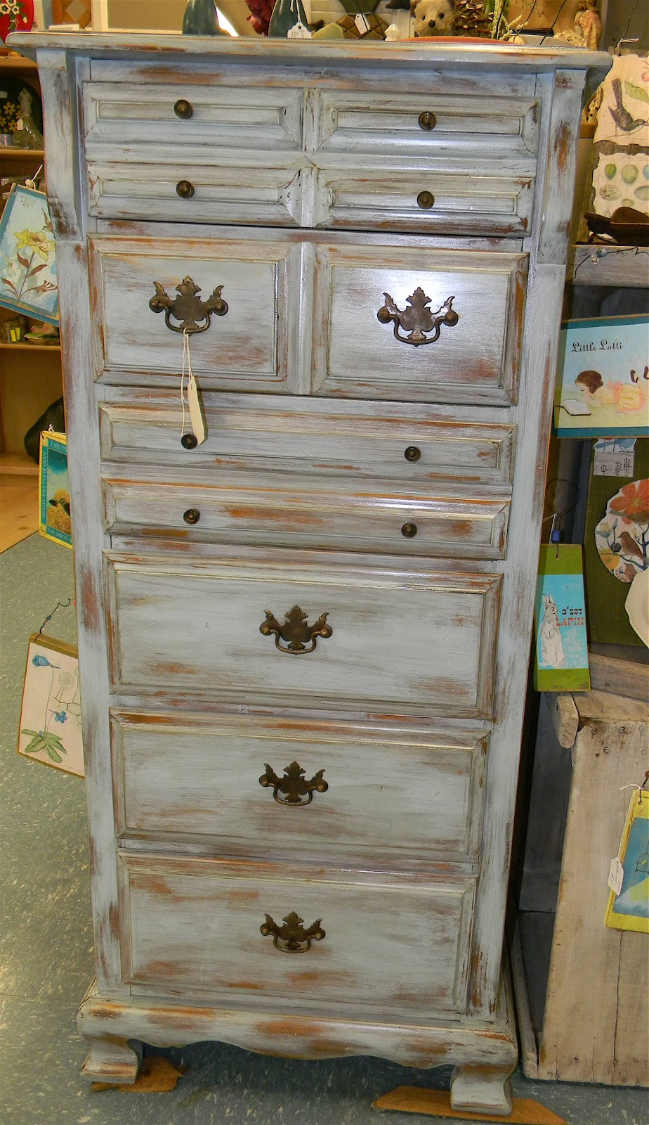 Emily S Up Cycled Furniture Tall Blue Grey Distressed Dresser