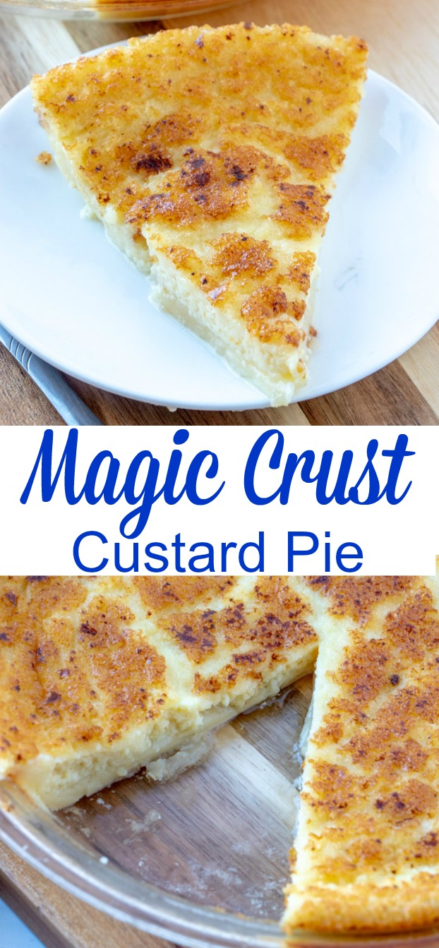Magic Crust Custard Pie! This easy pie is great for holidays or last minute company! These ingredients are easily found in your fridge and pantry and it turns out perfect every time!