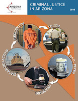 snapshot of Criminal Justice fact sheet cover with criminal justice images and buzz words like Incarceration, Recidivism, Police, Bail, Fines and Chaging.