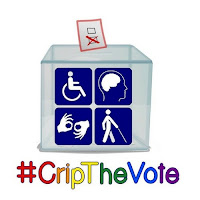 #CripTheVote logo with ballot box with four disability symbols on the front and #CripTheVote in multicolored letters