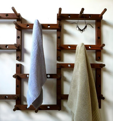 modular wood coat rack / peg system for the wall