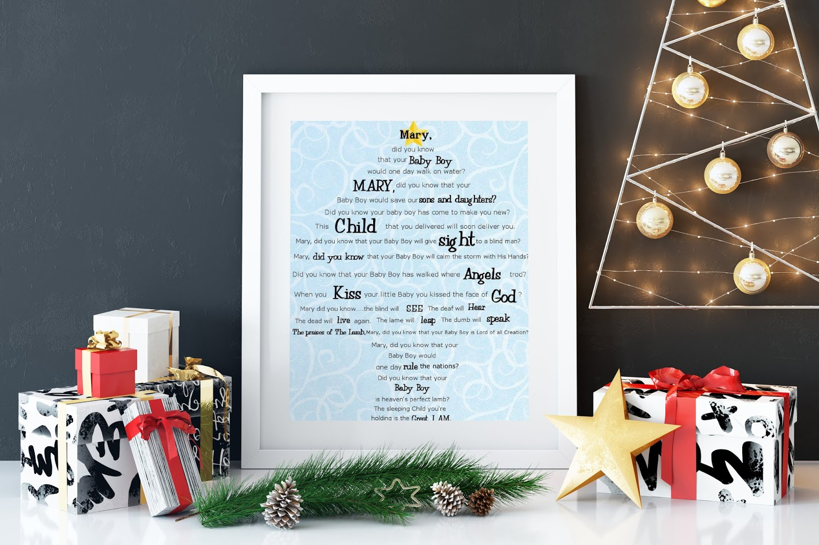 simple free printable christmas signs with the lyrics for mary did you know the beautiful