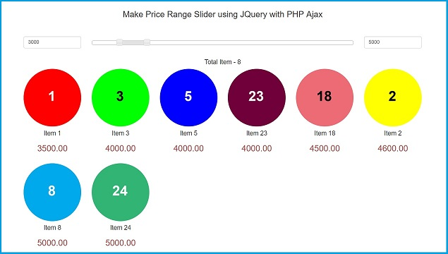 Make Price Range Slider using JQuery with PHP Ajax | Webslesson