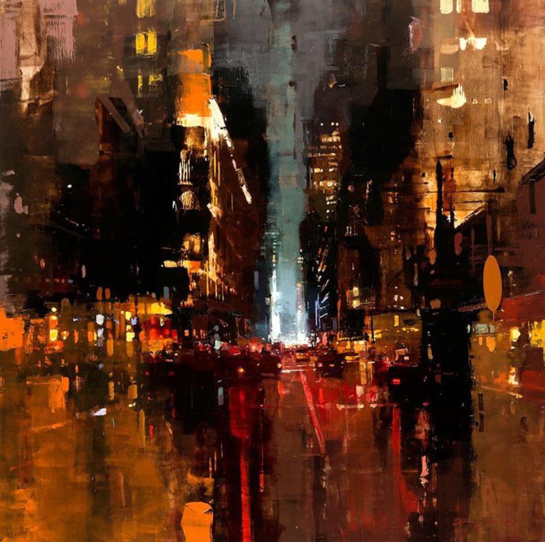 Nuevas pinturas al óleo de paisajes urbanos a base de aceite dispuesto en el amanecer y el anochecer por Jeremy Mann