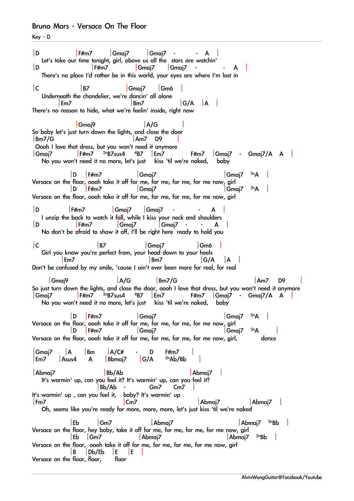 Bruno Mars Versace On The Floor E Chords Wikizie