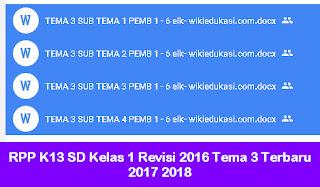 RPP K13 SD Kelas 1 Revisi 2016 Tema 3 Terbaru 2017 2018