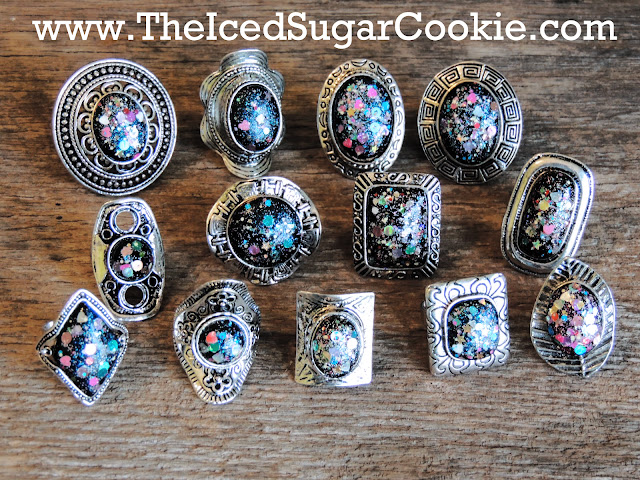 Glitter Bomb Fashion Rings, Rings, Fashion Rings, The Iced Sugar Cookie, Jewelry, Boho Rings, Glitter Rings, Statement Rings, Galaxy Rings,