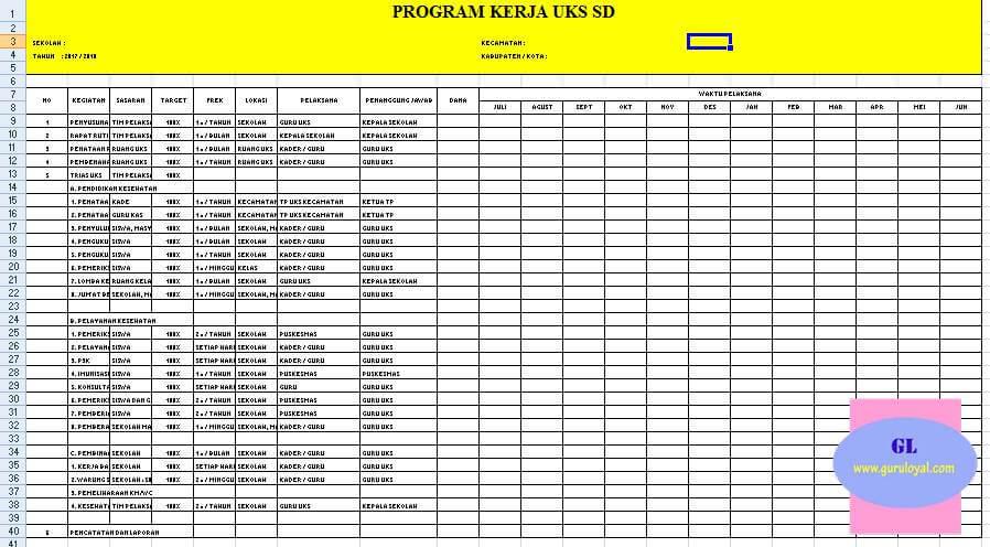Format Agenda Kerja Uks Sd Excel Selalu Belajar