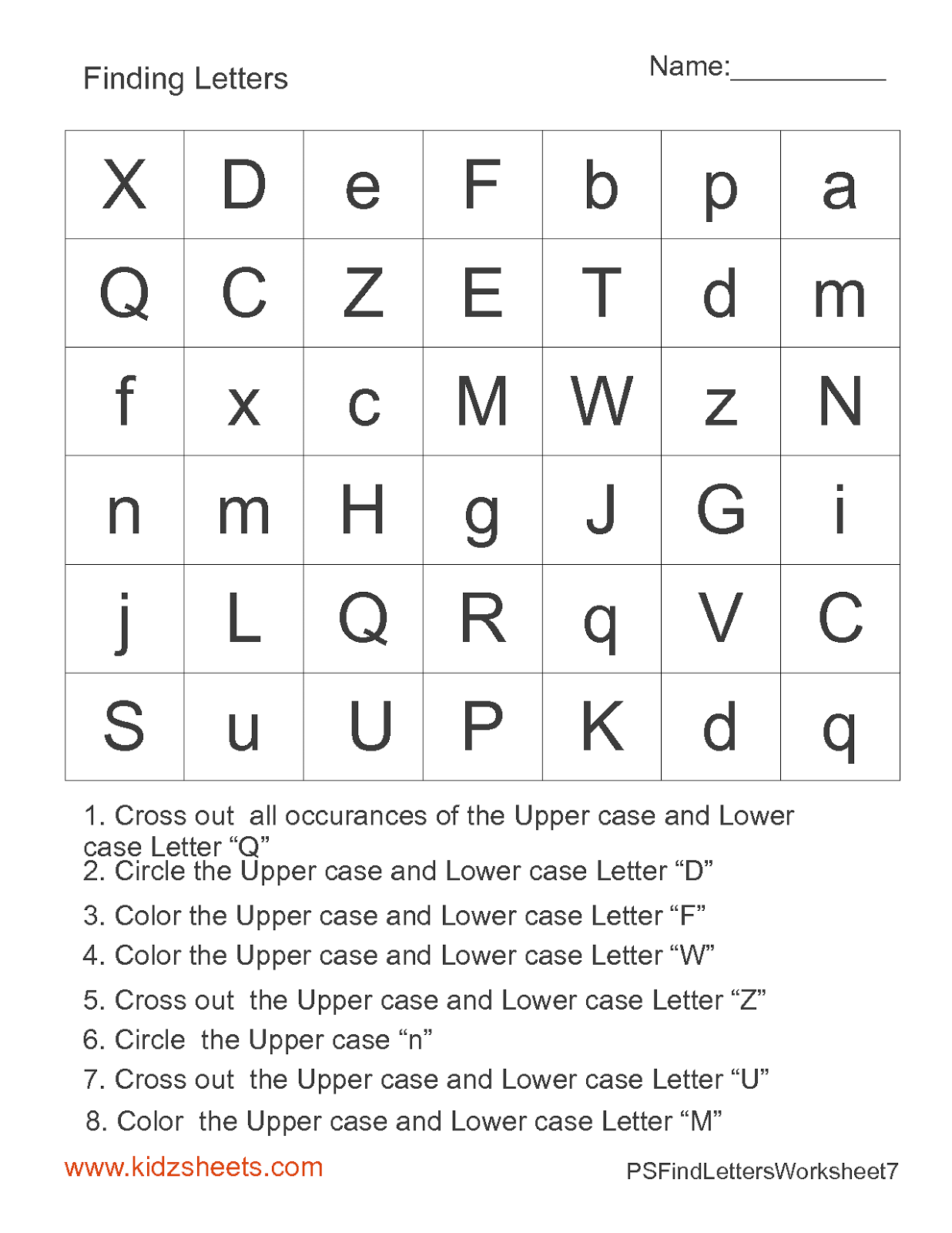 Kidz Worksheets Preschool Find Letters Worksheet7