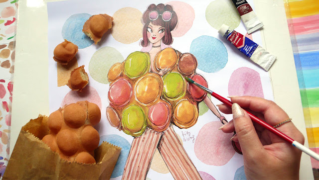 Egg Waffle food flatlay with Fashion Illustration