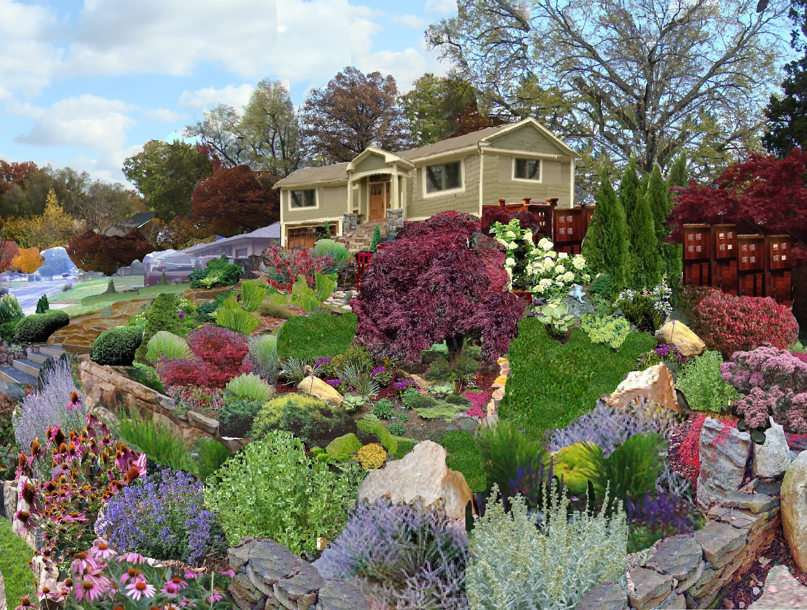 renovate my ranch rock garden corner and 2 possible entry. Black Bedroom Furniture Sets. Home Design Ideas