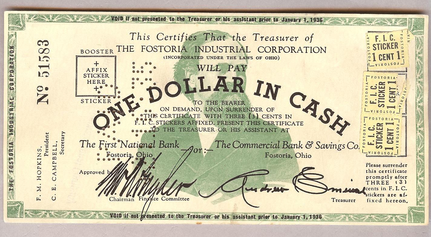 Self liquidating scrip money