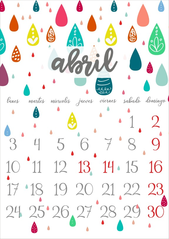 Imprimible: Calendario Abril 2017 - Niña Bonita