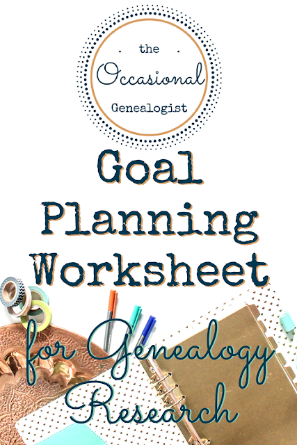 Keep a list of genealogy goals so you;re ready to research when you finally find time. | The Occasional Genealogist #genealogy #familyhistory