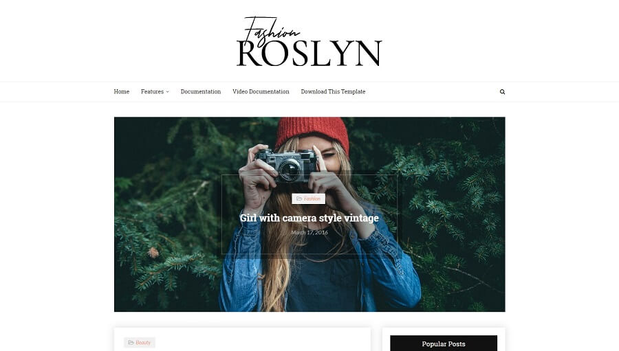 Roslyn - Responsive Fashion Blogger Template