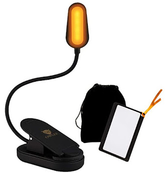 Book Light for Reading in Bed at Night -- Clip On Amber Book Light, Warm LED Reading Night L