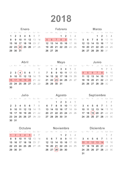 Calendario exámenes Aula Mentor 2018