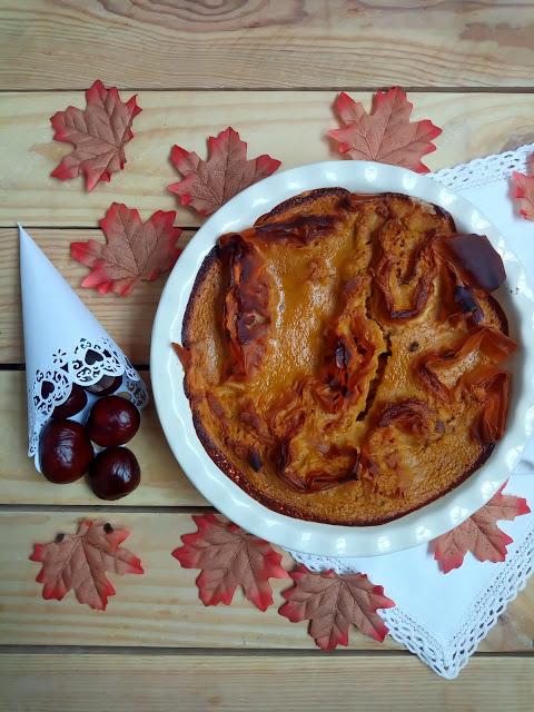 Pumpkin spice ruffled milk pie. Tarta de calabaza especiada y masa filo. Canela, especias, postre, merienda, fácil, rápido, otoño, con horno. Cuca