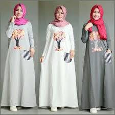 Desain Long Dress Baju Muslim Modern Terbaru