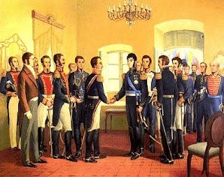 Dibujo de Simón Bolivar dando la mano a José de San Martín en Guayaquil