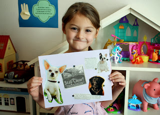 Tessa created a collage of safety tips cut from magazines, newsletters, brochures and a variety of other media. Afterward, she embellished them to cutouts of dogs and gold foil star stickers.