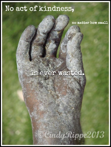 Kindness, Garden Sculpture, Hand, patina, decluttering, kindness quotes, sharing