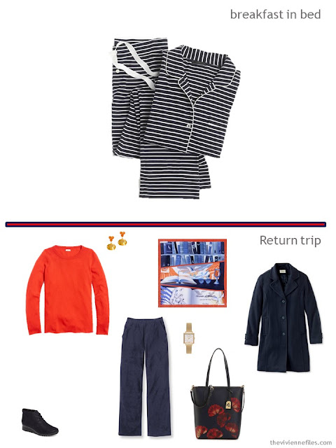 2 outfits from a tote-bag weekend travel capsule in navy with orange and yellow accents