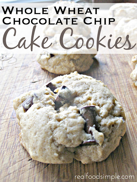 whole wheat chocolate chip cake cookies. These cookies are cake-like, not overly sweet, and have the best amount of chocolate chips. | realfoodsimple.com