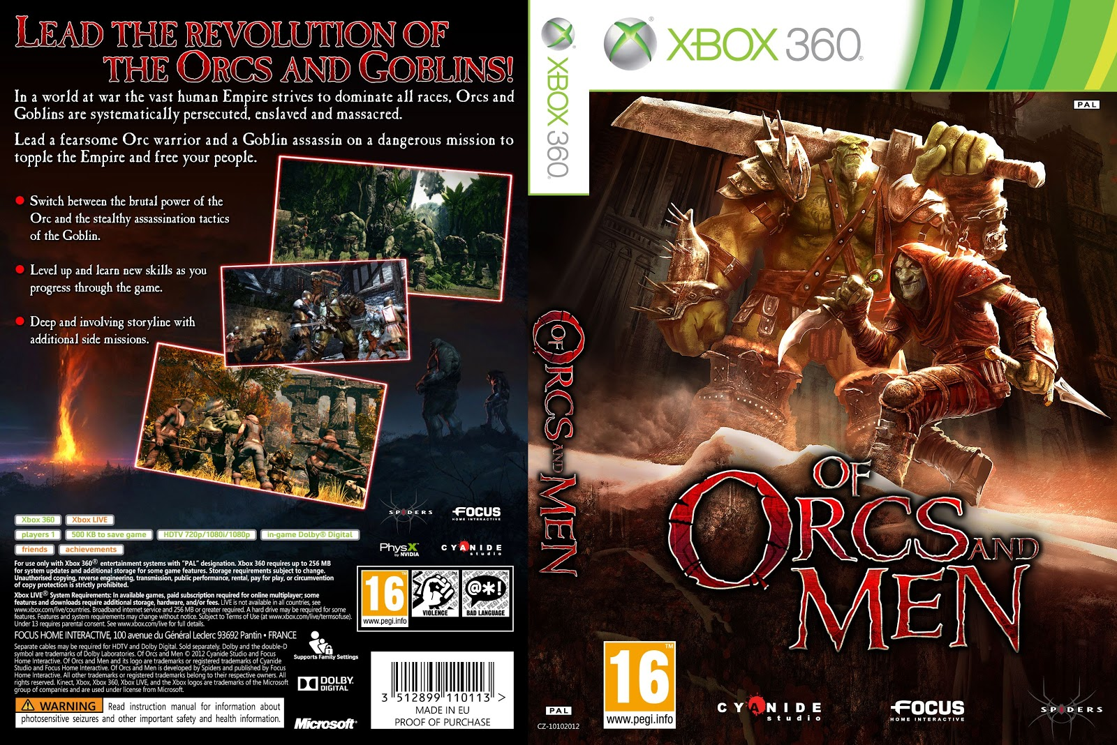 Capa Of Orcs And Men Xbox 360
