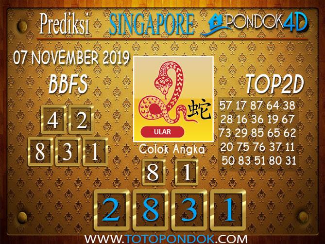 Prediksi Togel SINGAPORE PONDOK4D 07 NOVEMBER 2019