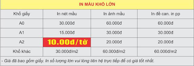 Bảng báo giá in màu khổ lớn A0 - A1 - A2