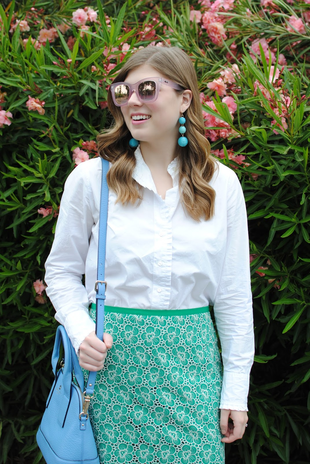 emerald-lace-skirt-pink-mirrored-sunglasses
