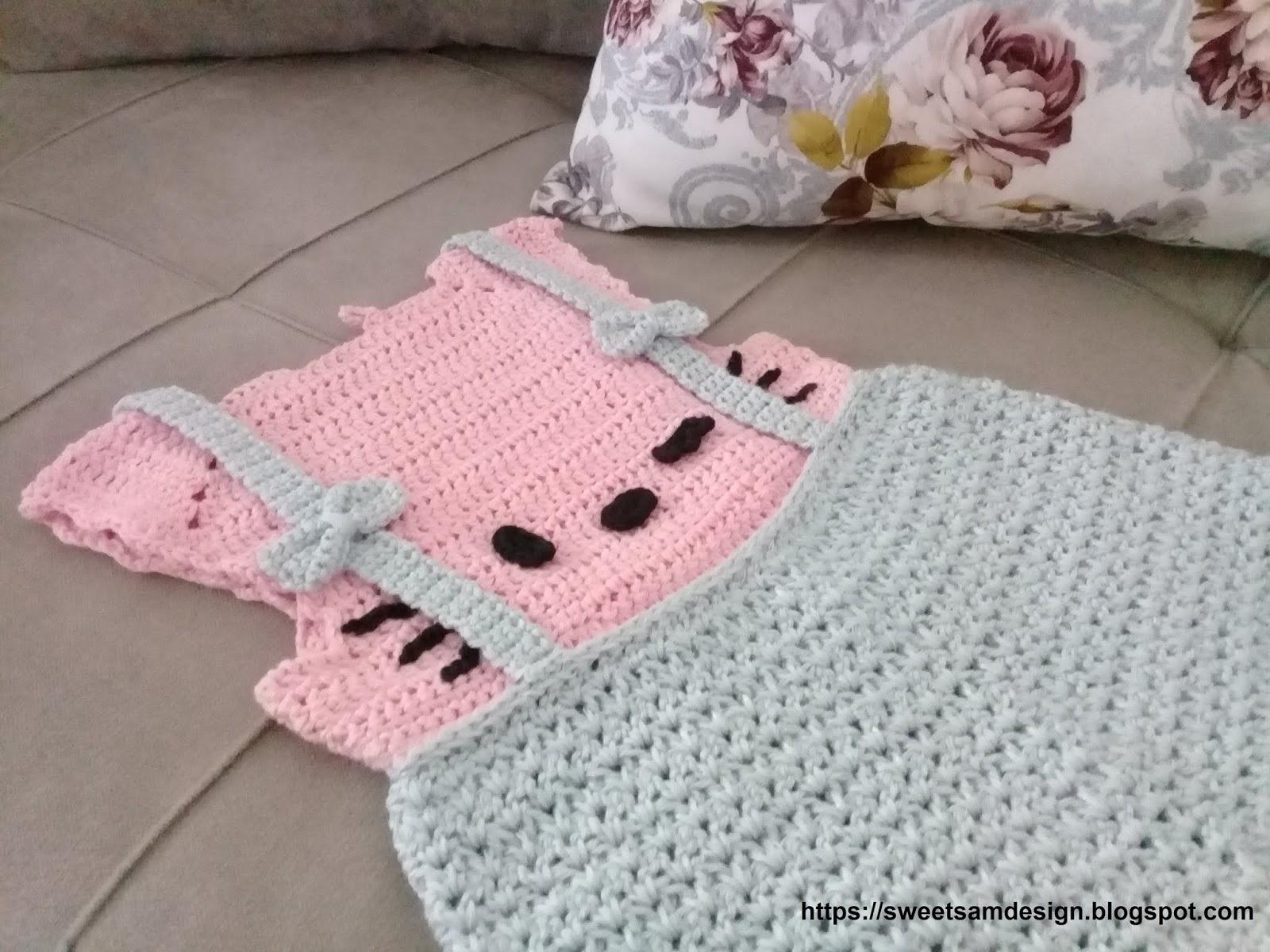 Cute HELLO KITTY Baby Dress Free Crochet Pattern