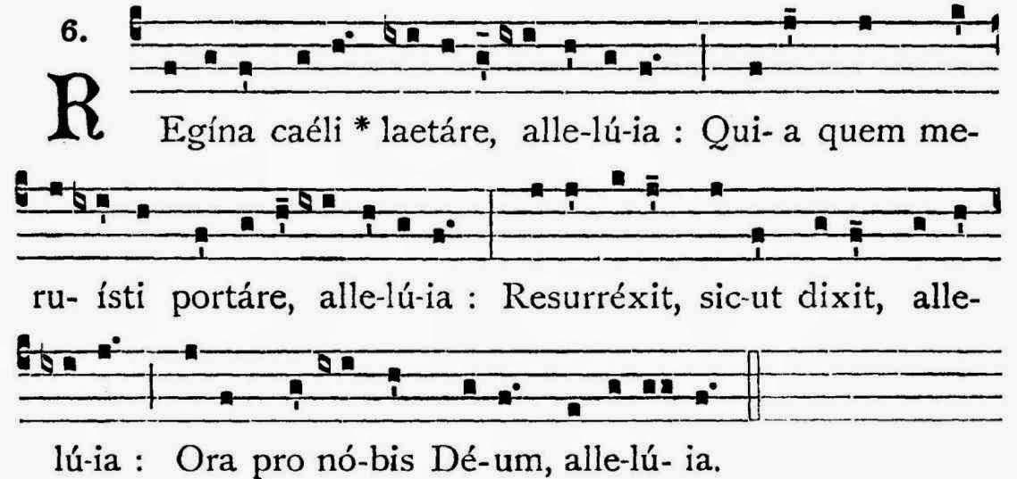 Regina Caeli: partitura, gregoriano simples.   Em Latim