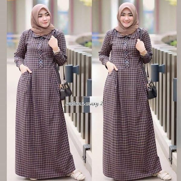 Baju Muslim Maxi Gamis Motif Kotak Brown Coklat Baju Muslim Gamis