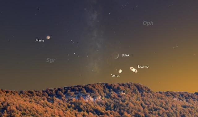 Resultado de imagen para luna y saturno venus noviembre 2016
