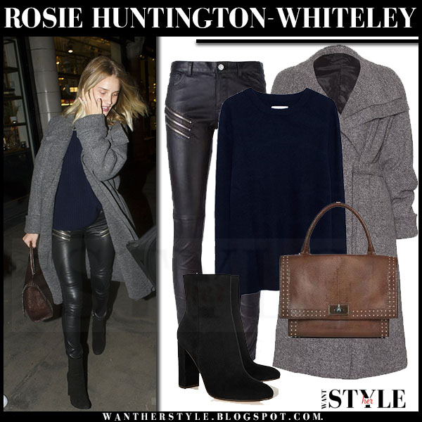 Rosie Huntington-Whiteley in grey wool the row magdalena coat and black leather saint laurent zip pants what she wore streetstyle